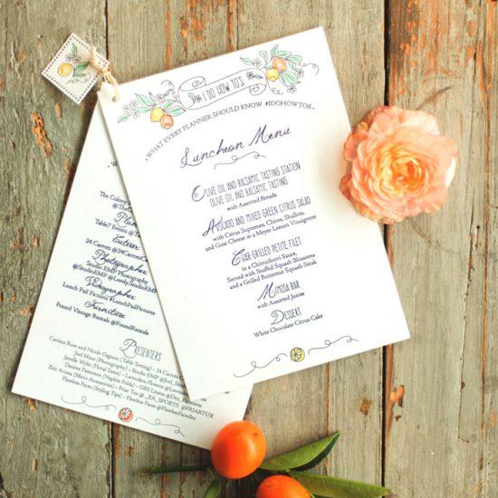 letterpress luncheon menu