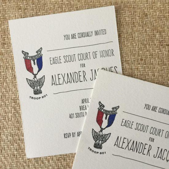 scout court of honor letterpress invitation