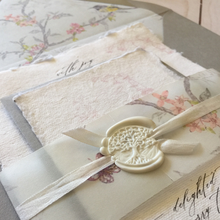 silk ribbon and wax seal