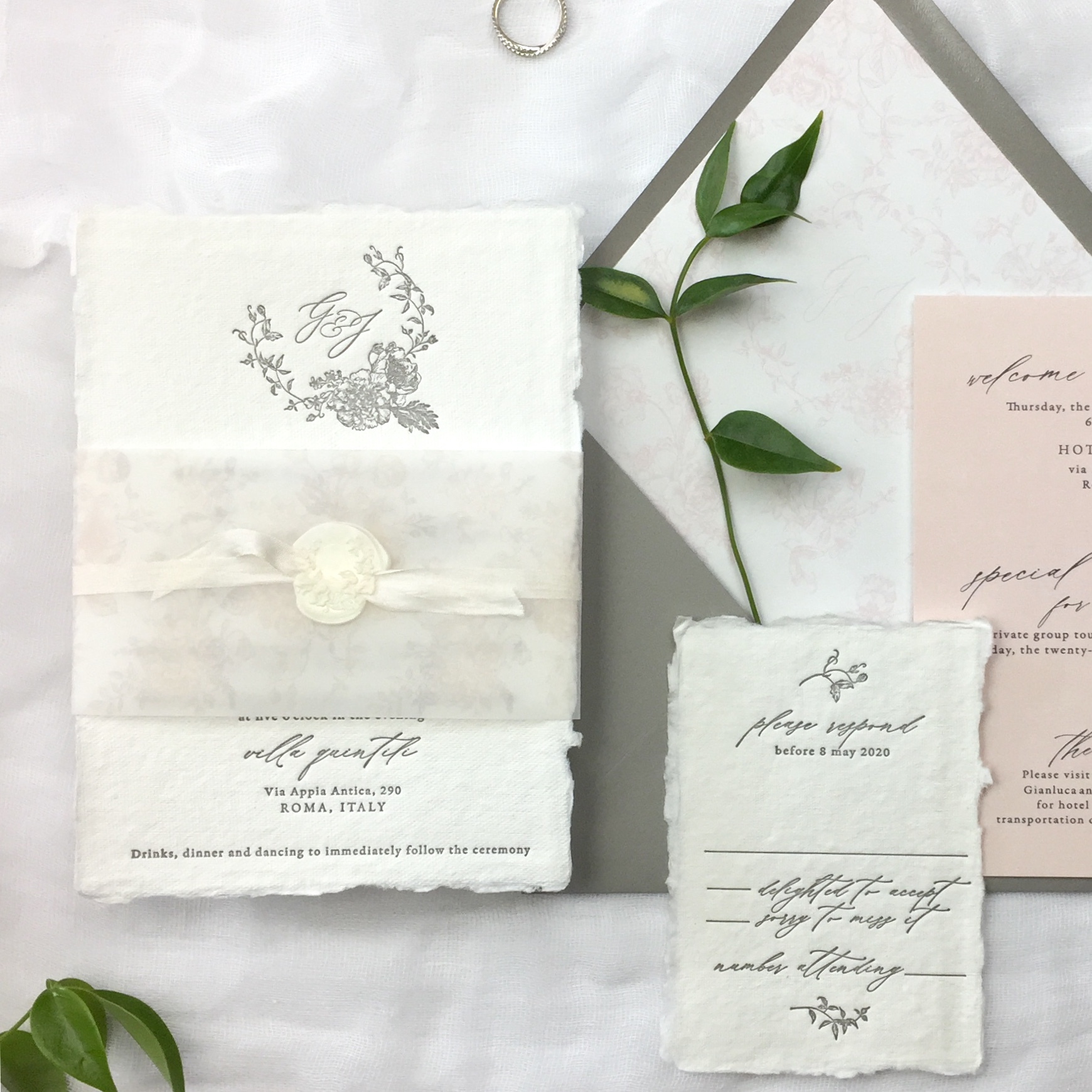 handmade paper and letterpress invitation suite