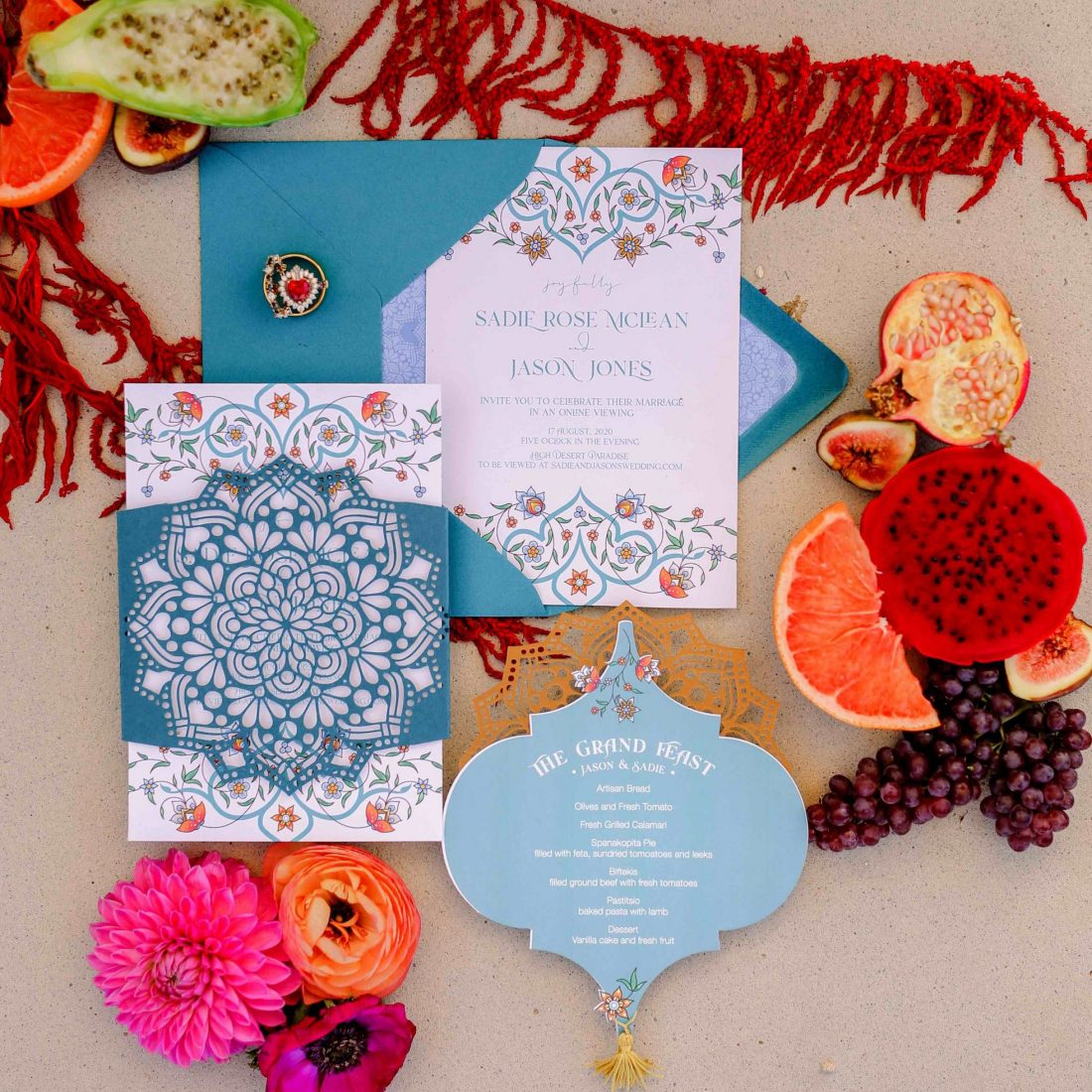 die cut mandala boho wedding invitations