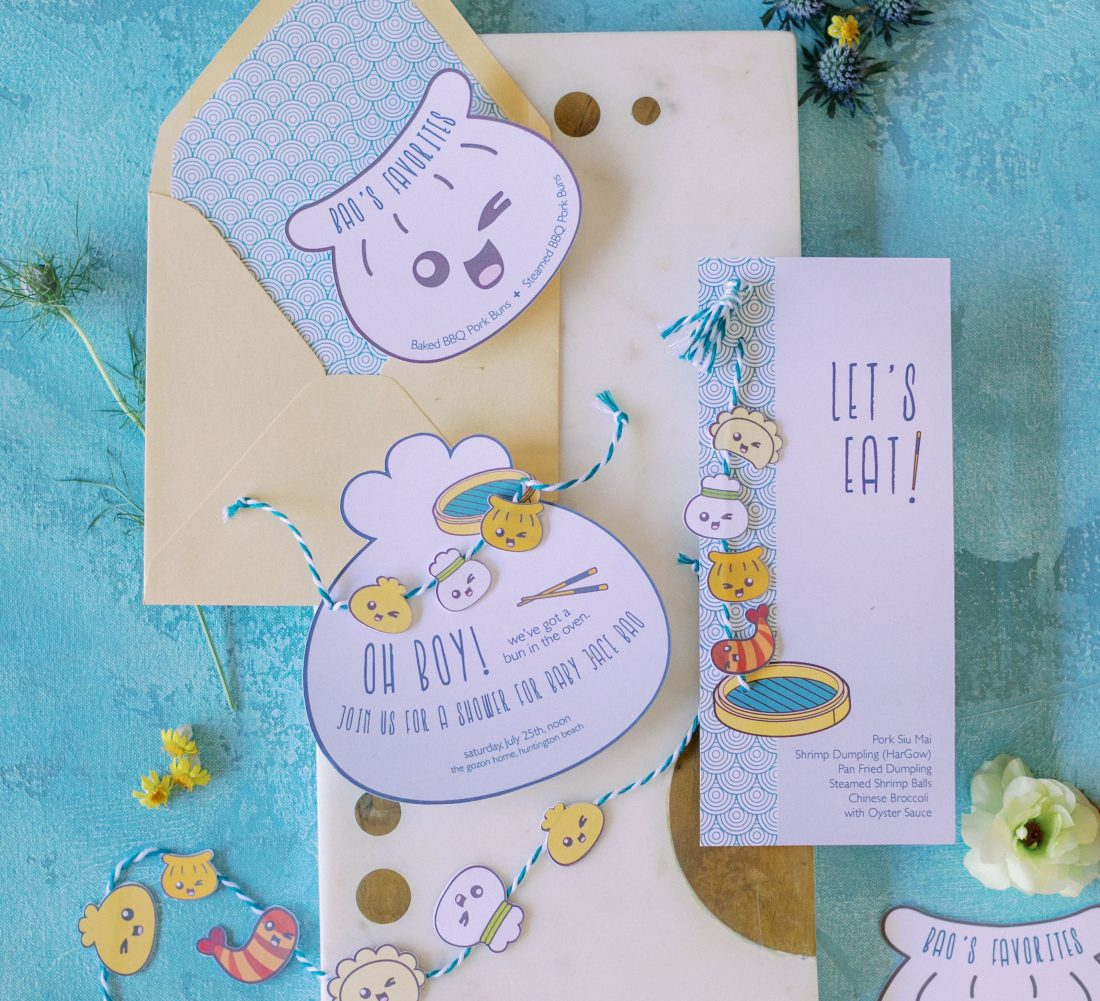 baby shower invitations and menu