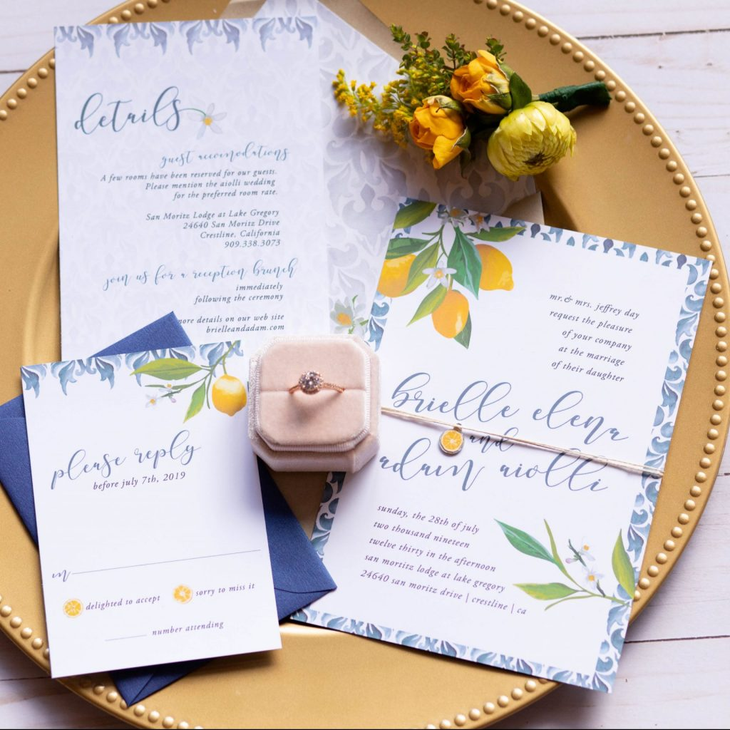tuscany lemon wedding invitation suite