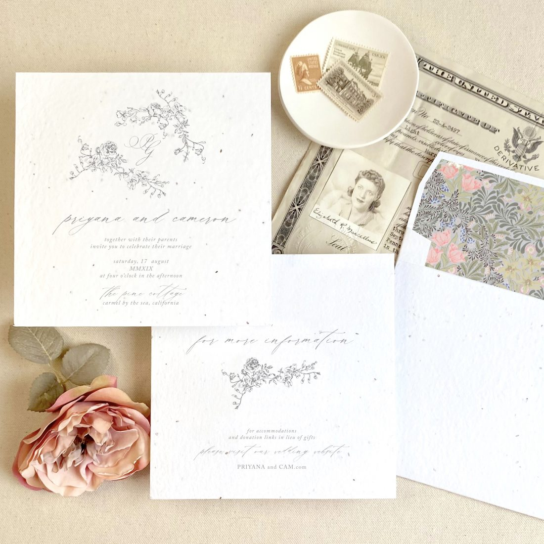 wedding stationery on seeded paper