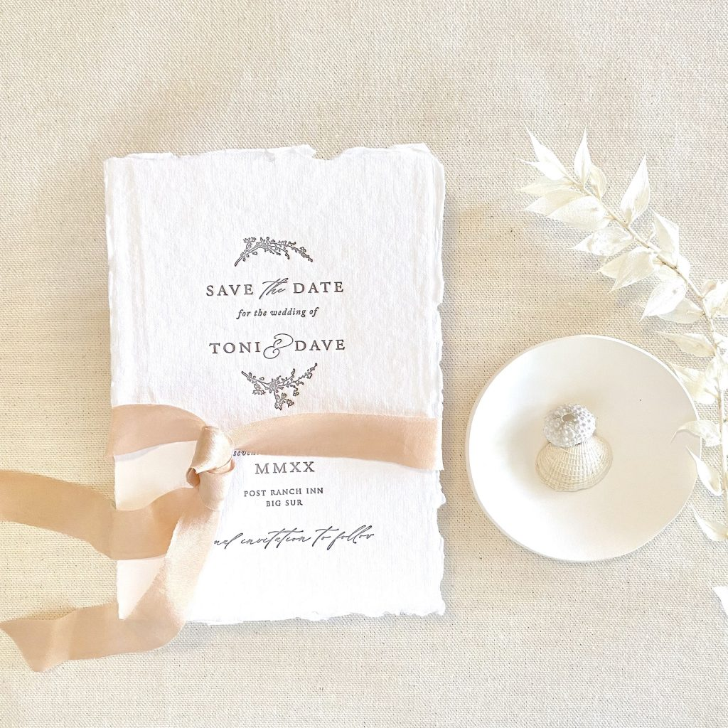 handmade paper save the date