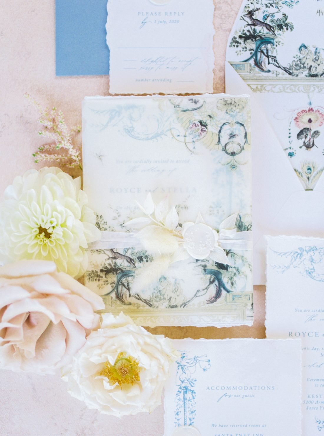 fine art chinoiserie wedding invitation